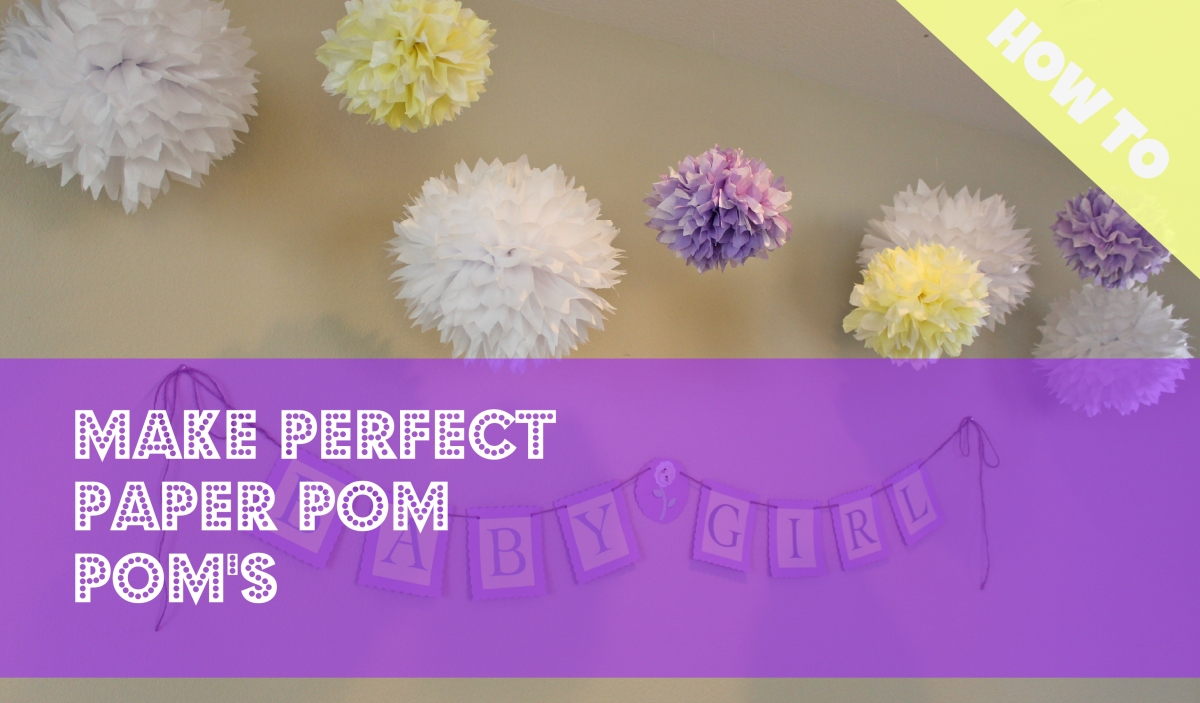 Tissue paper pom poms and wedding bouquet