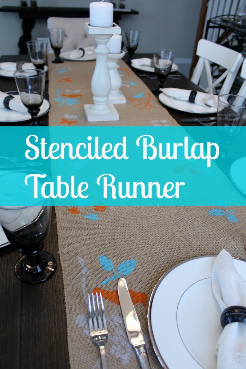 Stenciled burlap table runner