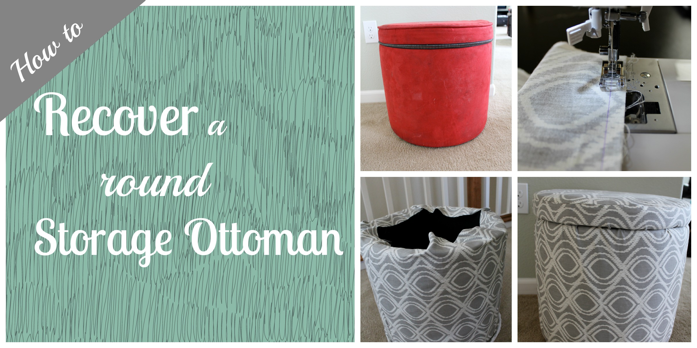 How to recover a round storage ottoman for How to make a round ottoman with storage